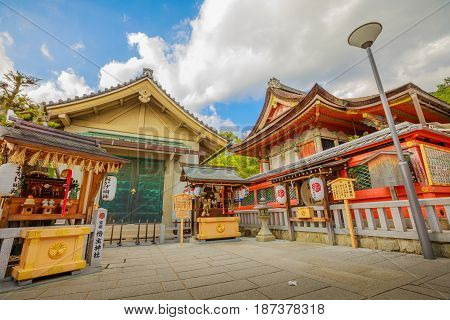 Jishu Jinja Shrine located above main hall of Kiyomizu-dera, is a shrine dedicated to Okuninushi, a god of love. Jishu Shrine is revered as the Cupid of Japan and is located on hilltop of Kyoto, Japan