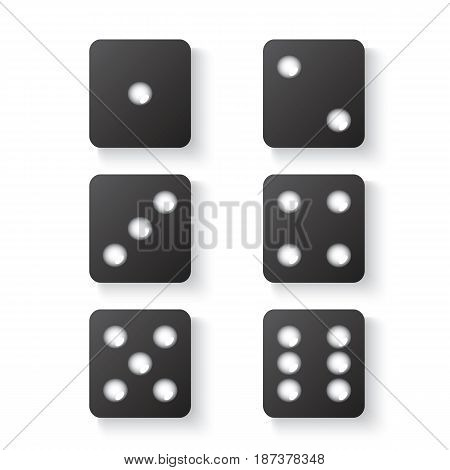 Black dice with shadow. View from above. Vector illustration.