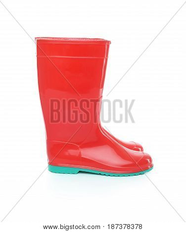 Red rubber boots. Isolated on white background.