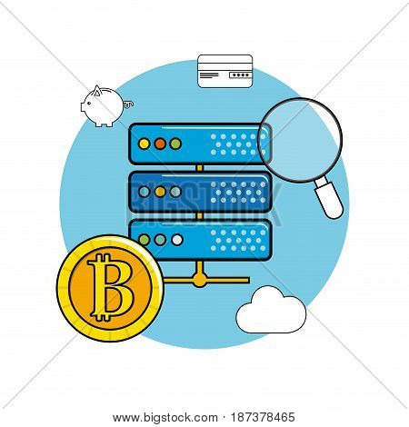 router with bicoin and digital icons concept, vector illustration
