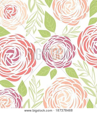 Vector illustration of ranunculus flower. Background with pink flowers