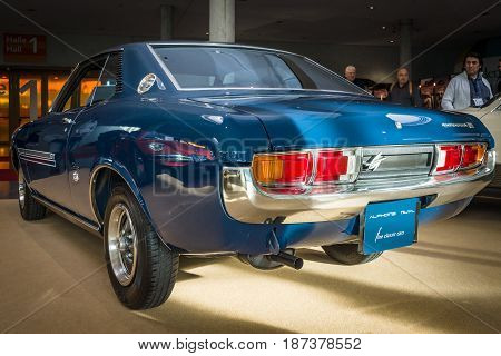 STUTTGART GERMANY - MARCH 04 2017: Sports car Toyota Celica Coupe 1600 GT 1974. Rear view. Europe's greatest classic car exhibition