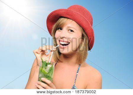 pretty girl with mojito
