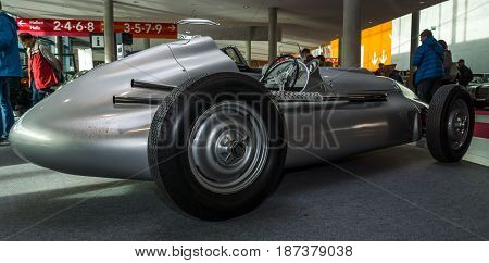 STUTTGART GERMANY - MARCH 04 2017: Sports car Veritas Meteor 1950. Rear view. Europe's greatest classic car exhibition