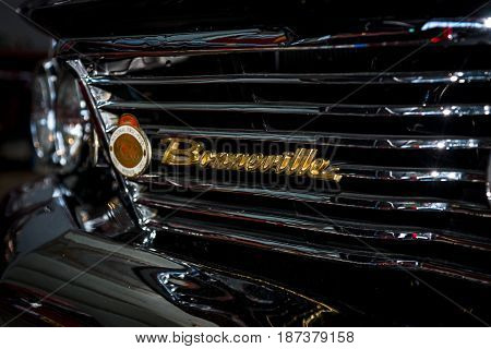 STUTTGART GERMANY - MARCH 04 2017: Detail of the full-size car Pontiac Bonneville 1960. Close-up. Europe's greatest classic car exhibition