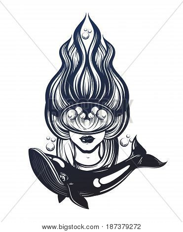 Vector hand drawn illustration of female diver with marine waves in the mask . Surreal tattoo artwork with whale . Template for card poster banner print for t-shirt.