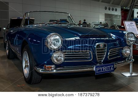 STUTTGART GERMANY - MARCH 04 2017: Executive car Alfa Romeo 2600 Spider (body by Carrozzeria Touring) 1963. Europe's greatest classic car exhibition