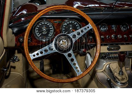 STUTTGART GERMANY - MARCH 04 2017: Interior of the sports car Jaguar E-Type 1962. Europe's greatest classic car exhibition