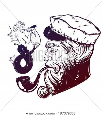 Vector hand drawn illustration of captain with pipe and triton. Tattoo artwork in realistic style. Template for card poster banner print for t-shirt coloring books.