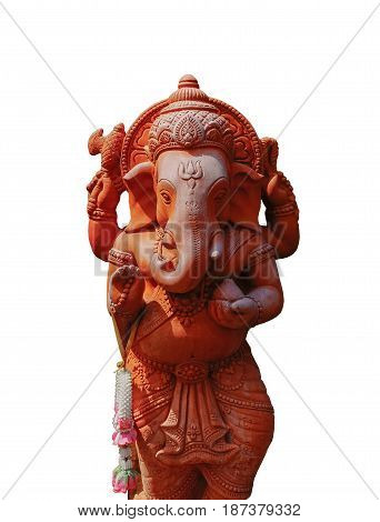 Hindu God Ganesha garnish isolated on white background