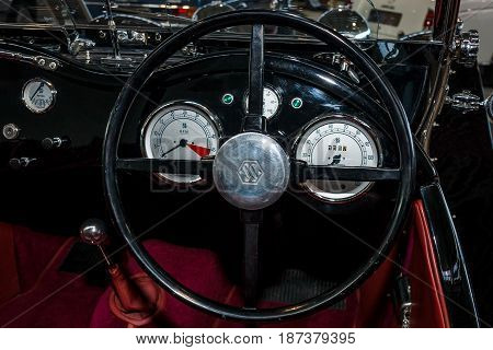 STUTTGART GERMANY - MARCH 04 2017: Interior of the sports car Suffolk SS100 (replica of the Jaguar SS 100) 1992. Europe's greatest classic car exhibition