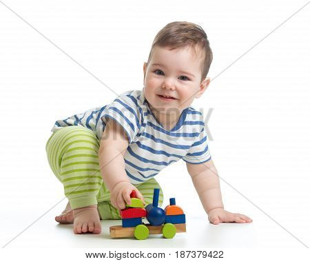 little boy child toddler playing with block toys isolated on white