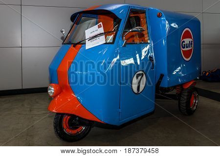 STUTTGART GERMANY - MARCH 04 2017: Submicro Van Piaggio Ape 50. Europe's greatest classic car exhibition