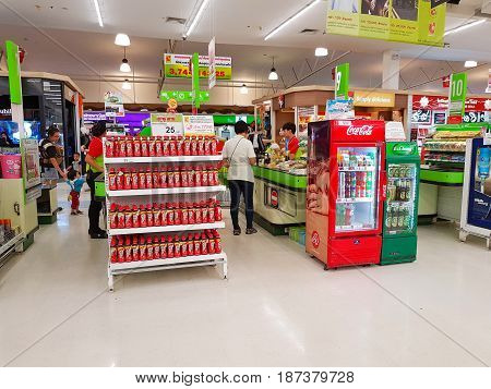 CHIANG RAI THAILAND - MAY 16 : unidentified customers standing in front of cashier section at supermarket on May 16 2017 in Chiang rai Thailand.