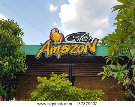CHIANG RAI THAILAND - MAY 6 : Amazon Cafe in PTT gas station famous coffee shop chain in gas station on May 6 2017 in Chiang rai Thailand.