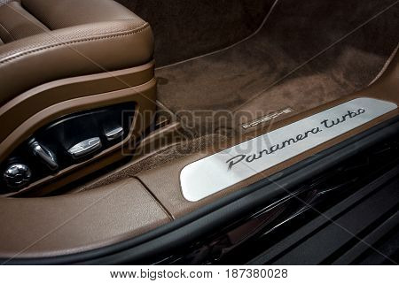 STUTTGART GERMANY - MARCH 04 2017: Interior details of the full-size luxury car Porsche Panamera Turbo 2016. Europe's greatest classic car exhibition
