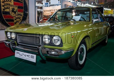 STUTTGART GERMANY - MARCH 04 2017: Sports car Fiat 124 Sport Coupe CC 1973. Europe's greatest classic car exhibition