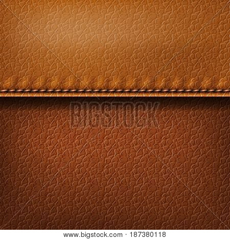 Realistic leather texture with a seam. Brown leather background with stitching. Vector illustration