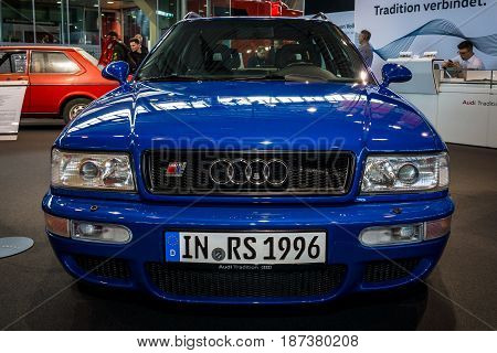 STUTTGART GERMANY - MARCH 04 2017: Entry-level luxury car Audi RS 2 Avant 1995. Europe's greatest classic car exhibition