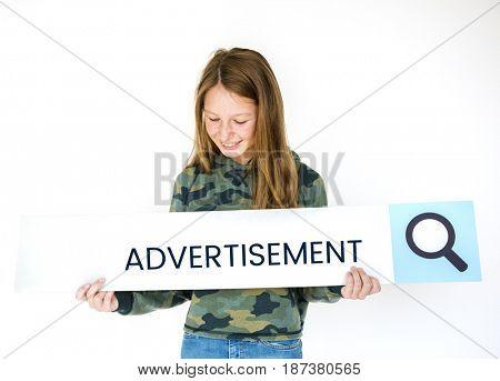 Girl holding searching banner of digital media entertainment