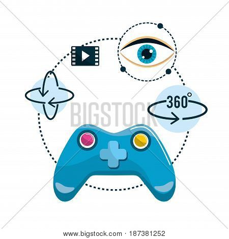 virtual reality futuristic entertainment game, vector illustration