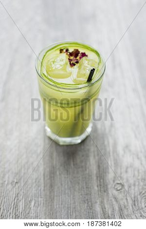 Fresh Lime Juice With Lime Rind And Ice In Glass Tumbler