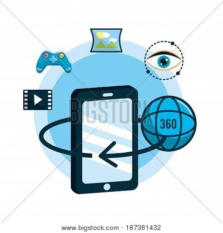 smartphone with global virtual reality experience, vector illustration