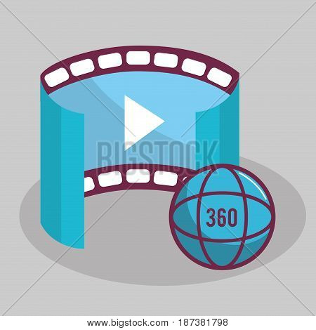 virtual reality global video experience, vector illustration