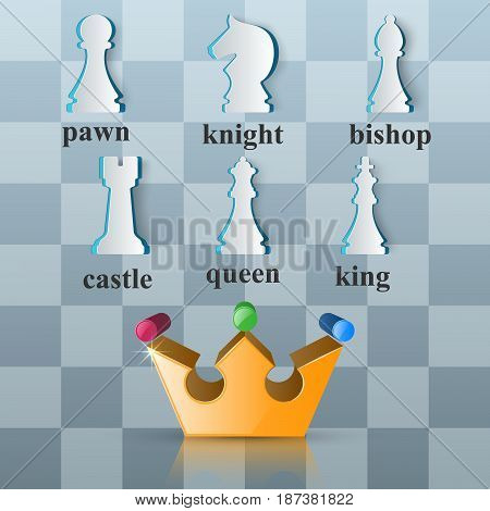 Chess icon. Business Infographics origami style Vector illustration.