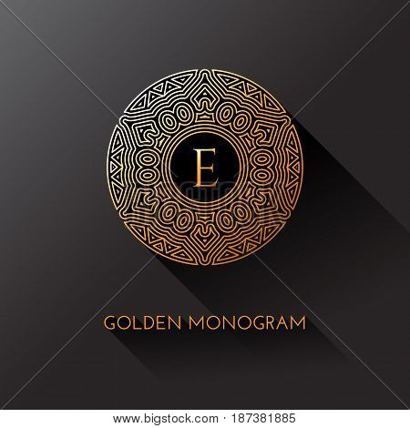 Golden elegant monogram with letter E. Template design for monogram label logo emblem. Vector illustration.