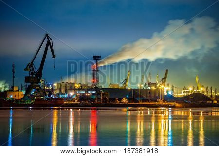 Industry area - Port of Gdansk at night Poland.