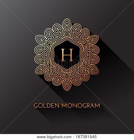 Golden elegant monogram with letter H. Template design for monogram label logo emblem. Vector illustration.