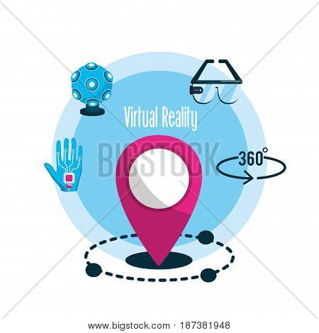 elements with global virtual reality experience, vector illustration