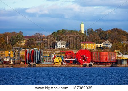 Cable storage in port of Stavanger Norway.