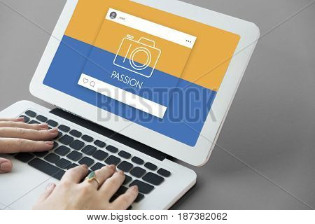 People using computer working with camera icon graphic