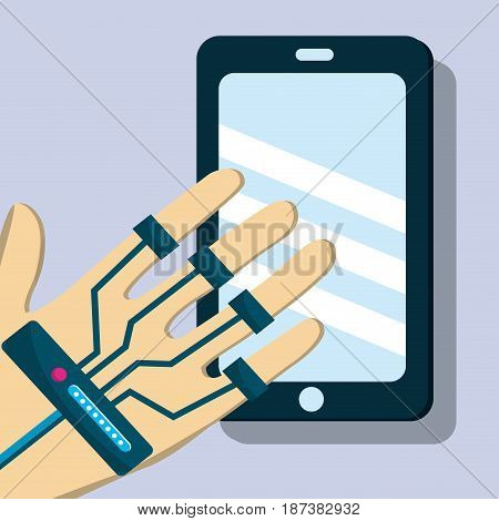 smartphone with hand element game to virtual reality, vector illustration