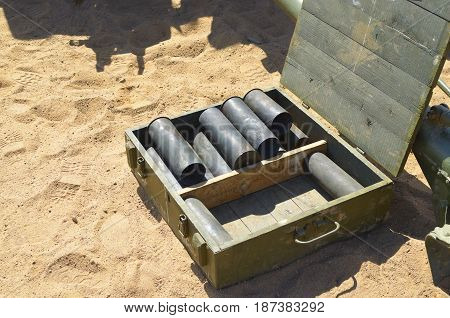 Empty casings from artillery shells lying in the drawer.