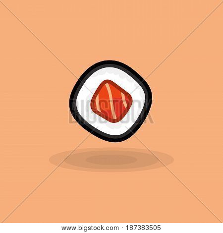Vector icon japanese fresh roll with tuna isolated. Illustration traditional japanese food. Image japanese cuisine roll with tuna on colored background