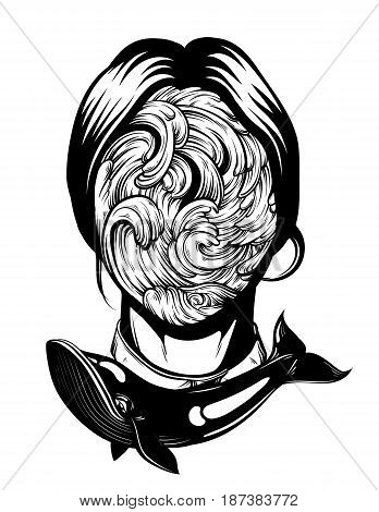 Vector illustration of weird young girl with sea waves instead face made in hand drawn style. Graphic Noir artwork with whale. Character design. Template for card poster banner print for t-shirt.