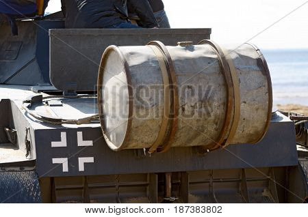 Fuel tank for a German tankmounted on the rear of the transport .