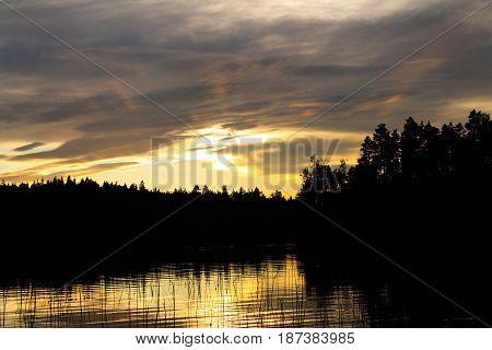 Sunset over the Berezovskoye lake , Karelian Isthmus