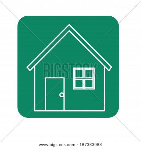label nice house with door, window and roof, vector illustration