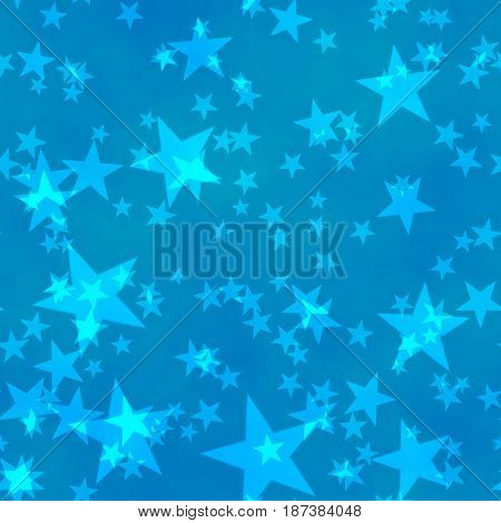 bokeh seamless shinning background with five-pointed stars in different sizes irregularly scattered on blue background