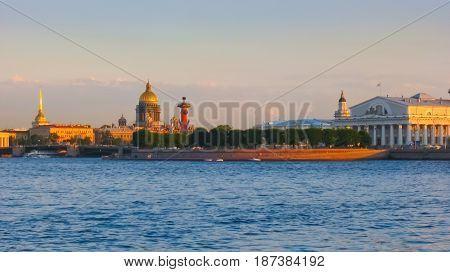 Morning panorama of the Spit of Vasilievsky Island, St. Petersburg