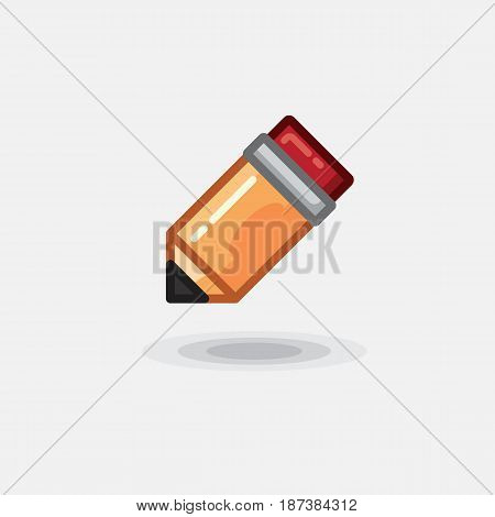 Vector icon yellow pencil wooden and pink eraser isolated. Illustration orange pencil isolated and pink eraser flat on white background
