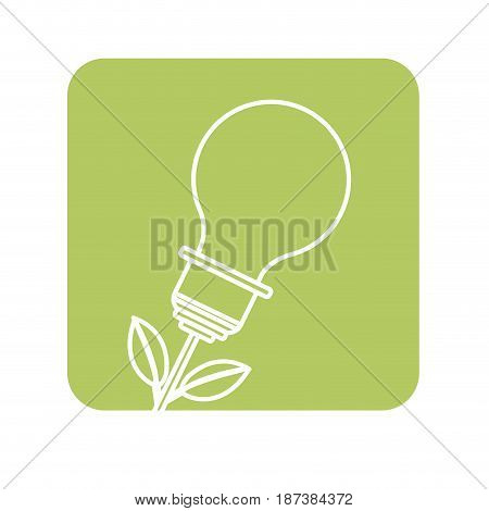 label bulb plant with leaves to save environment, vector illustration