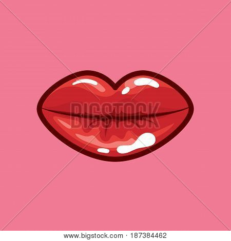 Vector icon attractive lips red color isolated. Illustration beautiful lips bright red color on a pink background