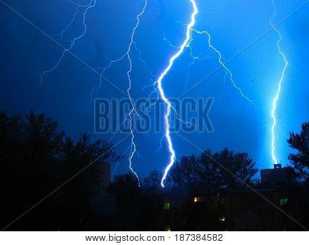 Lightning. Summer rain with a thunderstorm over St. Petersburg.