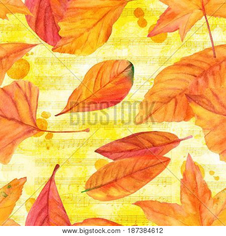 The music of autumn, a seamless pattern with vibrant watercolor leaves on the background of golden toned sheet music. Autumnal repeat print