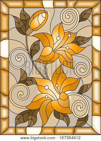 Illustration in stained glass style with flowers and leaves of lilies tone brown sepia